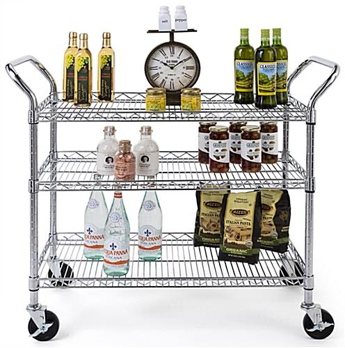 Chrome wire utility cart with commercial grade chrome steel