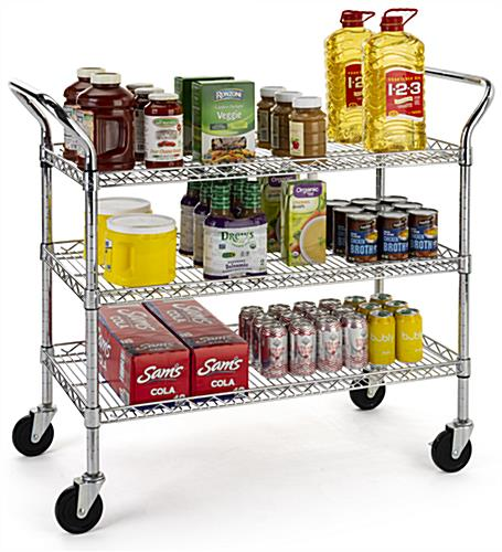 Chrome wire utility cart has three tiers and dual push bars