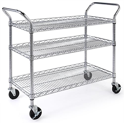 Chrome wire utility cart has three adjustable shelves