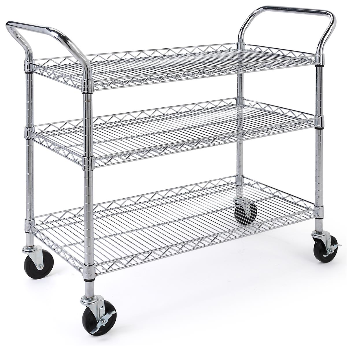 3 Tiered Wire Rack Cart Locking Wheels 35 5 W Adjustable Shelves Chrome