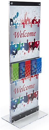 Acrylic Display Totem with Brochure Holder Fits Various Poster Sizes