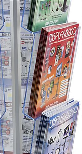 Spinning Magazine Stand With 20 Pockets, Aluminum Frame