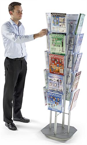 Spinning Magazine Stand with 20 Pockets, Silver Finish