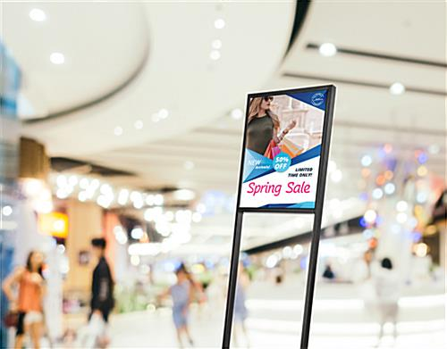SEG push fit sign stand for shopping malls and retail advertising