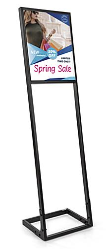 SEG push fit sign stand with full color custom dye-sublimation printed 16in wide by 20in tall fabric