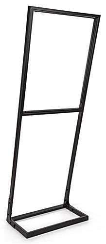 Tension fabric poster stand frame in powder coated black steel