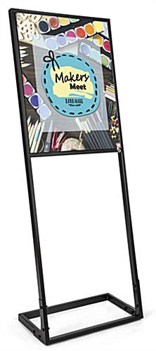 SEG tension fabric poster stand with 22in by 28in full color custom printed sign