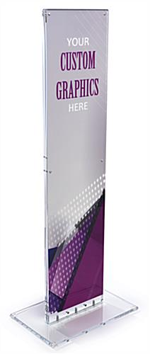 Indoor acrylic floor sign totem display designed for custom printed insert