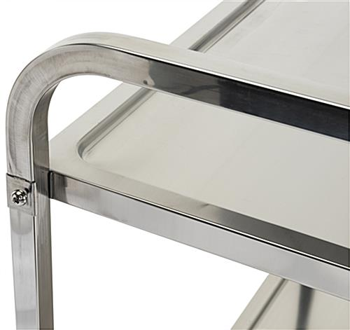 3 tier stainless steel utility cart with 2 tubular curved handles