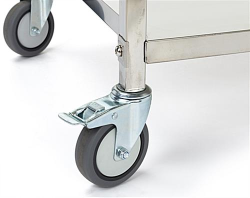2 tier stainless steel service cart with locking and non locking casters