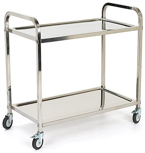 2 tier stainless steel service cart with 22.5 inch distance between shelves