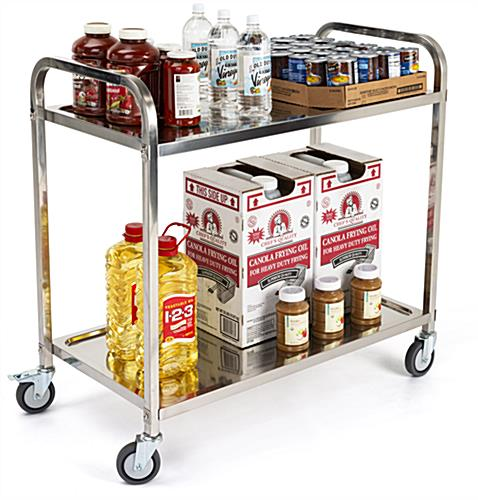2 tier stainless steel service cart with shelf width of 35 inches