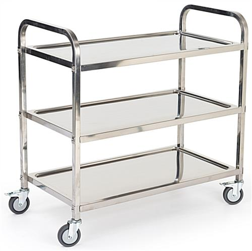 3 tier stainless steel utility cart with shiny chrome finish