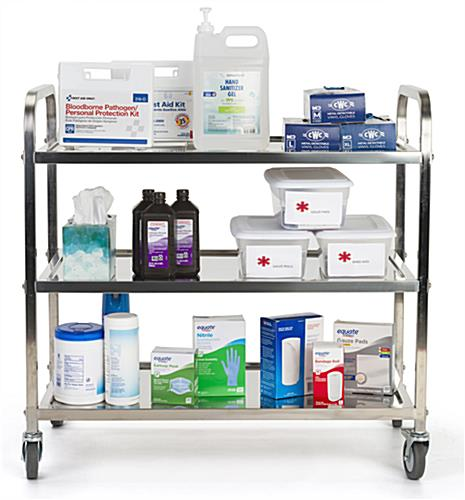 3 tier stainless steel utility cart with 10.5 inch distance between shelves