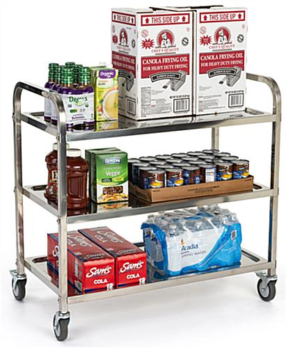 3 tier stainless steel utility cart with overall height of 36.50 inches