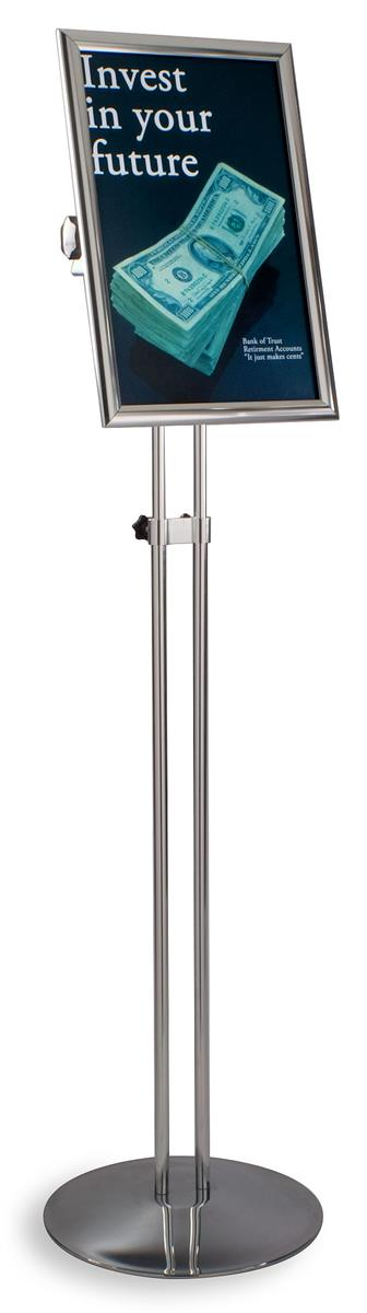 Poster Stand Holder 11x17 Inches Adjustable Pedestal Sign Aluminum Snap Open