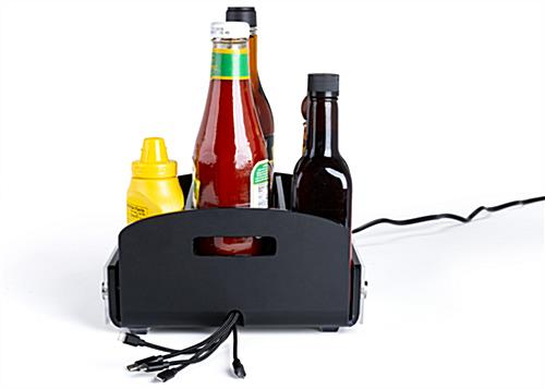 restaurant condiment caddy with USB charger for table organization