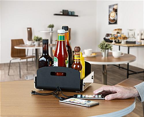 restaurant condiment caddy with USB charger for dining and hospitality industries