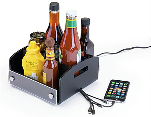 restaurant condiment caddy with USB charger for tabletop use