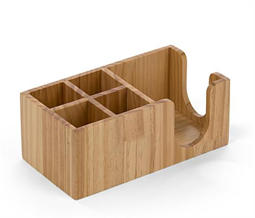 Bar caddy accessory organizer in natural wood finish