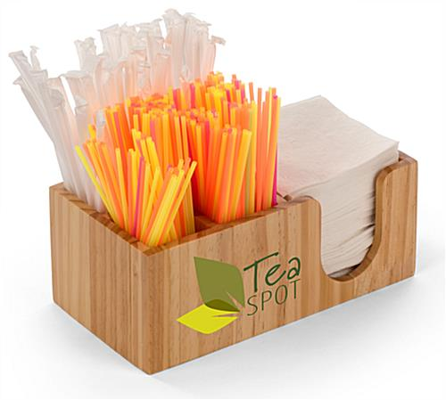 Pine bar napkin caddy straw organizers