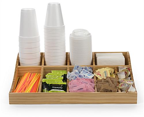 Natural pine wood coffee caddy condiment station