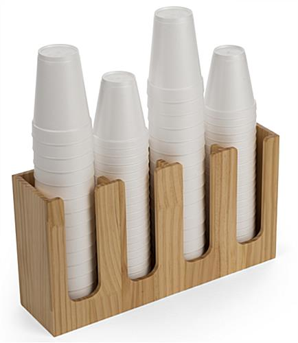 Cup and lid holder organizer for coffee shops with four vertical slots