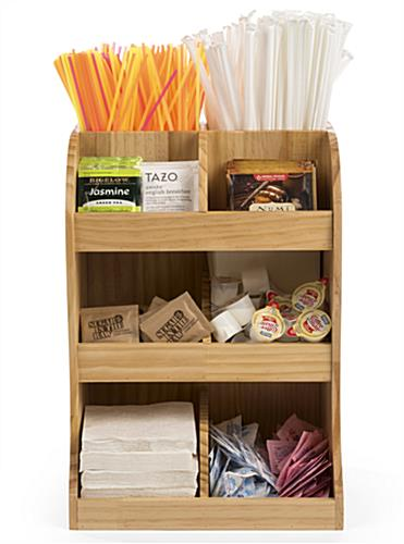 Natural finish coffee station wood condiment organizer