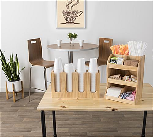 Mutli-tier coffee station wood condiment organizer