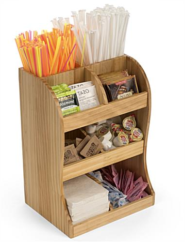 Coffee station wood condiment organizer for countertop use