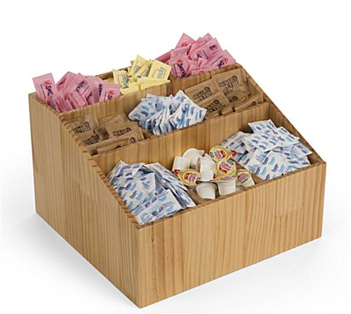 Sugar packet condiment caddy with 9 compartments
