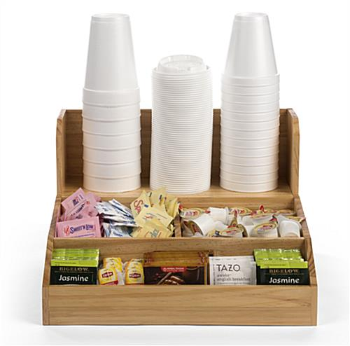 Wood coffee condiment station with natural finish