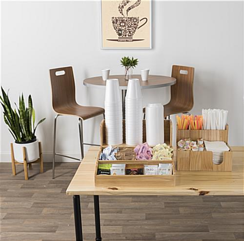 Wood coffee condiment station for commercial use