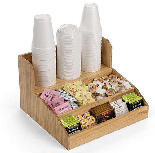 Wood coffee condiment station with three compartments and shelf
