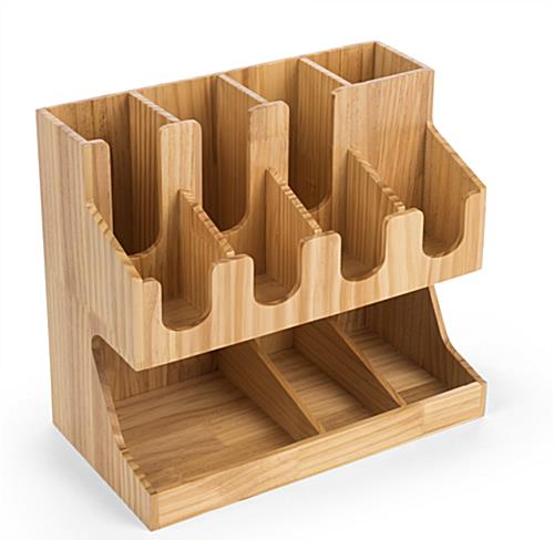 Countertop wood coffee condiment station organizer
