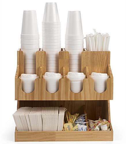 Solid pine wood coffee condiment station organizer