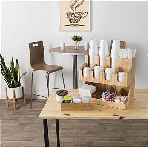 Wood coffee condiment station organizer with 11 pockets