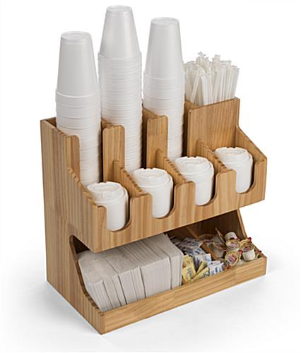 Three-tier wood coffee condiment station organizer