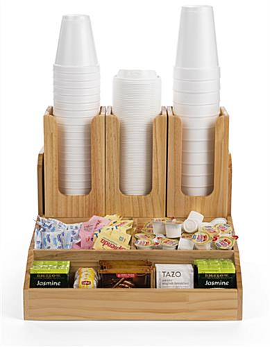 Breakroom condiment organizer for cups and packets