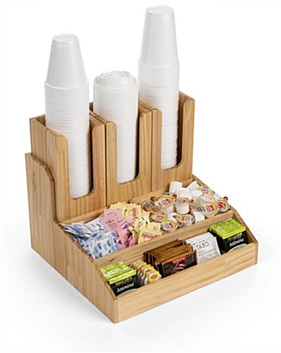 Natural wood breakroom condiment organizer