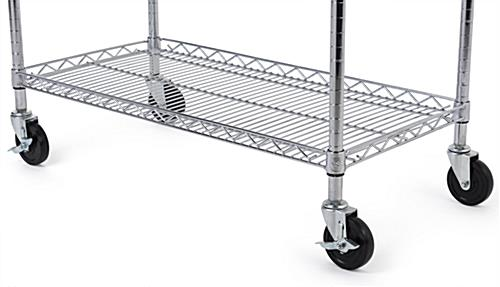 Chrome wire utility cart with set of caster wheels