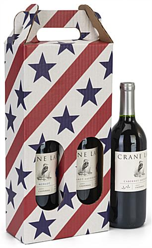 Stars and stripes pre-printed cardboard wine carrier
