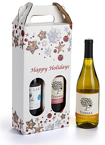 Pre-printed cardboard wine carrier with happy holiday design
