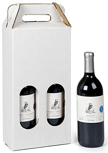 2 bottle cardboard wine carry box houses 750 ml containers