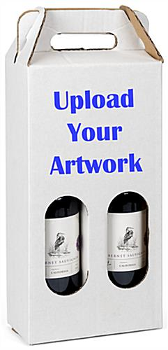 Custom printed cardboard wine tote with personalized artwork