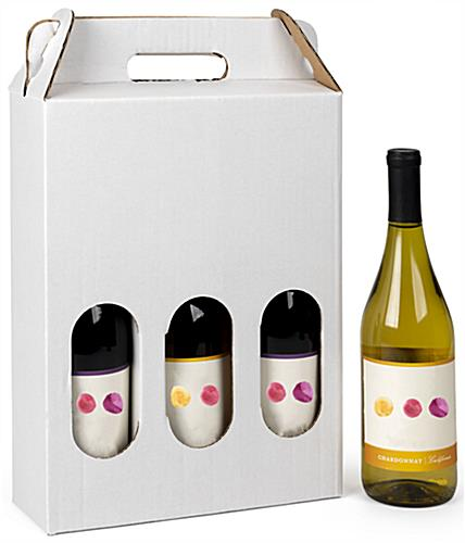 3 bottle cardboard wine carrier designed for 750ml bottles