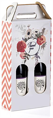 Custom printed cardboard wine tote with full color UV printing