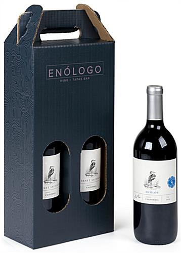 Custom printed cardboard wine tote with two 750ml bottle capacity