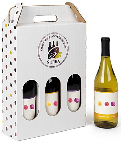 Personalized cardboard wine bottle carrier with 3 bottle capacity