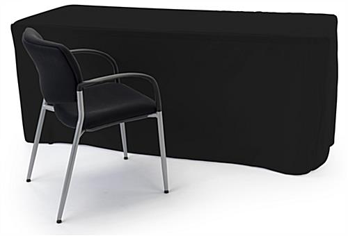 Trade show table throws measure 90 inches wide by 132 inches tall